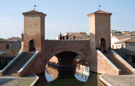 emilia romagna: Comacchio, Italy  October 24, 2015: The monumental three point bridge known as the Trepponti 1638, Comacchio, Emilia Romagna, Italy Editorial