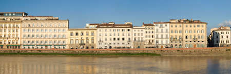 arno: Florence. Old town buildings on the riverbank Arno