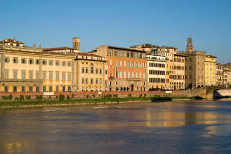 arno: Florence. Old town buildings on the Arno riverbank