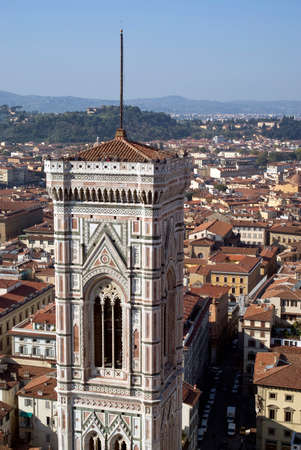 the campanile: Florence. Campanile of Giotto and city view from the top of the Duomo Stock Photo
