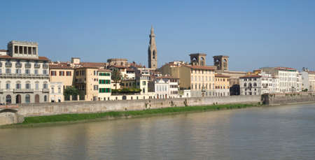 Florence. Old town buildings on the riverbank Arno