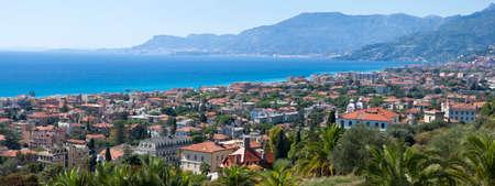 panoramic beach: Panorama of Bordighera, Italian Riviera Stock Photo