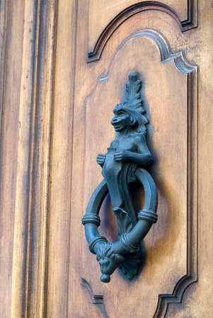 knocker: Old door knocker of a French mansion
