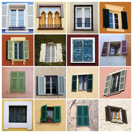oldfashioned: Old-fashioned windows in Mediterranean style