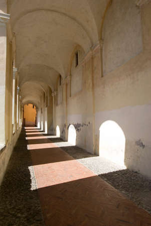 passageway: Imperia, Italy - September 20, 2015: St. Clare Arcade in Parasio, the old town of Imperia, Liguria region of Italy Editorial