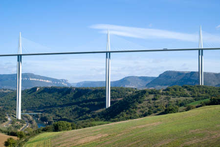 millau: Millau, France - October 23, 2014: The Millau viaduct is the highest bridge in the world