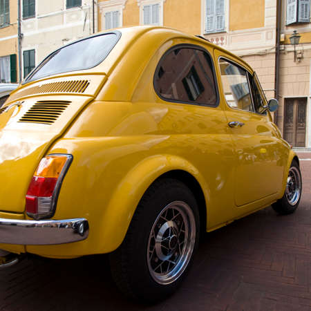 taillight: Imperia, Italy - April 24, 2016: Close up of a Fiat 500 parked in a street in Imperia During the raid of vintage cars