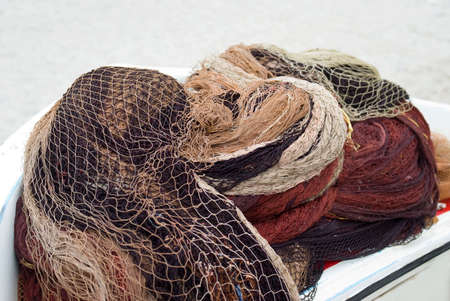 commercial fishing net: Fishing nets and floats Stock Photo