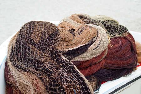 heaped: Fishing nets and floats Stock Photo