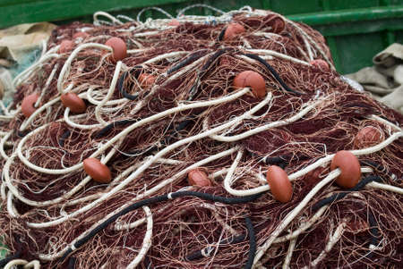 fishing floats: Fishing nets and floats Stock Photo