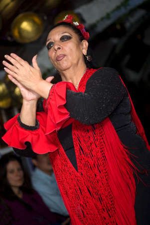 """visceral: Granada, Espana - November 8, 2012: The flamenco dancer at """"La Rocío"""" offers a form of flamenco show which is danced in caves of the Sacromonte, the gypsy district. Gipsies of the same family dance, sing and play a visceral flamenco which roots date  Editorial"""