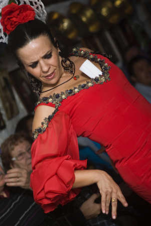 """danced: Granada, Espana - November 8, 2012: The flamenco dancer at """"La Rocío"""" offers a form of flamenco show which is danced in caves of the Sacromonte, the gypsy district. Gipsies of the same family dance, sing and play a visceral flamenco which roots date  Editorial"""