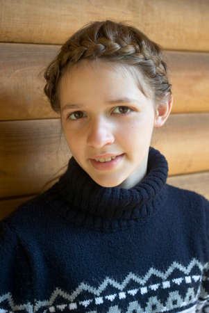 smiled: Teenage girl with braided hairstyle