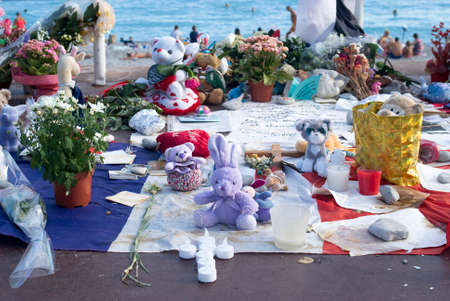 Nice, France - August 2, 2016: Makeshift memorials along the Promenade des Anglais in Nice to remember the victims of the terrorist attack of the 14th July 2016