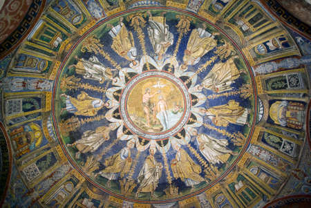 baptized: Ravenna, Italy - October 24, 2015:  Magnificent domed The Baptistry of Neon. Jesus Christ being baptized by John the Baptist and around him the 12 apostles