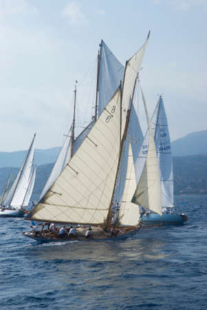 Imperia, Italy - September 8, 2016: Stage of the Panerai Classic Yachts Challenge, is a key event in sailing the Mediterranean. Over 80 boats representing 12 countries That Participated in the regatta in the Gulf of Imperia, Italy