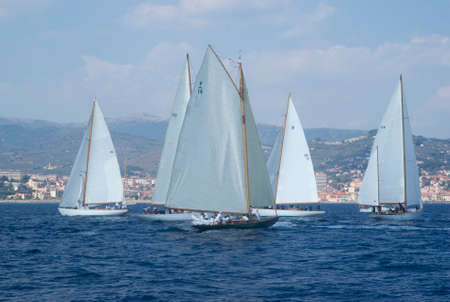 alte: Imperia, Italy - September 8, 2016: Stage of the Panerai Classic Yachts Challenge, is a key event in sailing the Mediterranean. Over 80 boats representing 12 countries That Participated in the regatta in the Gulf of Imperia, Italy