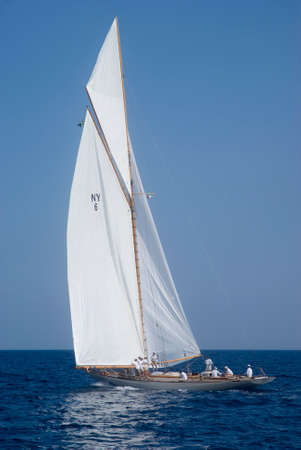 Imperia, Italy - September 8, 2016: Sailboat in old style. Stage of the Panerai Classic Yachts Challenge, is a key event in sailing the Mediterranean. Over 80 boats representing 12 countries That Participated in the regatta in the Gulf of Imperia, Italy Editorial