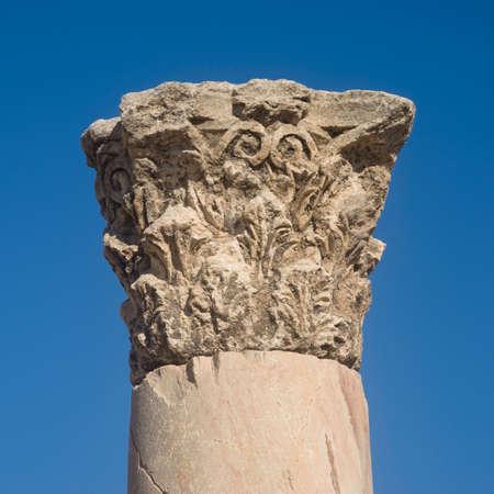 church ruins: Stone column Byzantine church ruins on Citadel Amman, Jordan Stock Photo