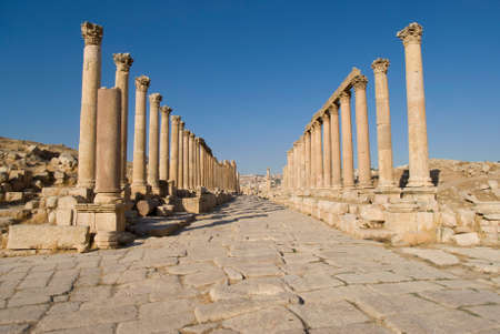 colonnaded: Colonnaded Street. Jerash, Jordan Stock Photo