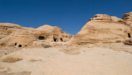 nabatean: Rock cut tombs at the entrance to ancient Nabatean city of Petra, Jordan