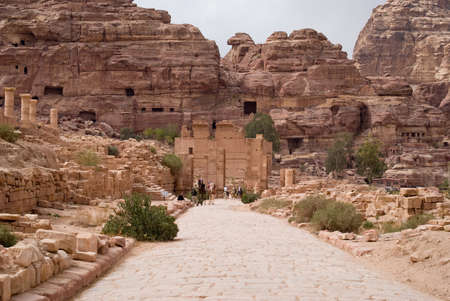 colonnaded: Petra, Jordan - October 26, 2016: The Colonnaded street. Petra, Jordan