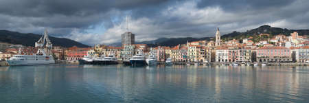 Panoramic view of Oneglia - old harbour of the city of Imperia. A coastal city and commune in the region of Liguria, Italy