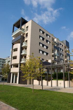 residential area: Milan, Italy - October 8, 2016: Exterior facade of a modern condominium building