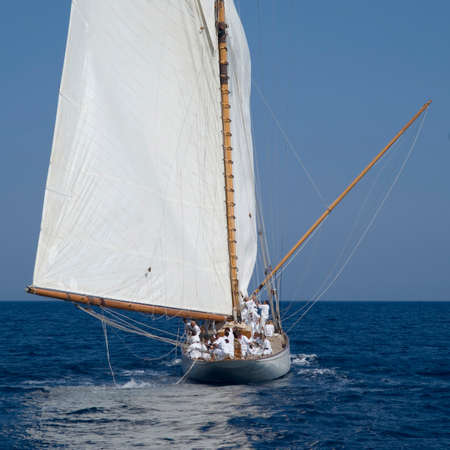 8 12: Imperia, Italy - September 8, 2016: Stage of the Panerai Classic Yachts Challenge, is a key event in sailing the Mediterranean. Over 80 boats representing 12 countries that participated in the regatta in the Gulf of Imperia, Italy