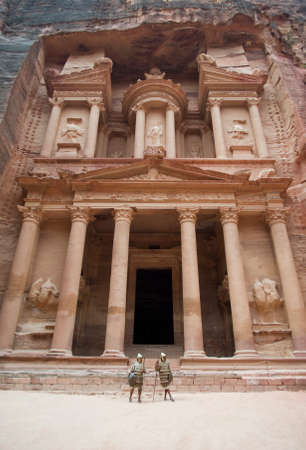 nabatean: Petra, Jordan - October 26, 2016: Nabatean soldiers in front The Treasury building at Petra, Jordan