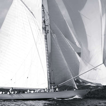 8 12: Imperia, Italy - September 8, 2016: Stage of the Panerai Classic Yachts Challenge, is a key event in sailing the Mediterranean. Over 100 boats representing 12 countries that participated in the regatta in Gulf of Imperia, Italy
