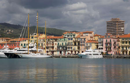 View of Oneglia - old harbor of the city of Imperia. A coastal city and commune in the region of Liguria, Italy