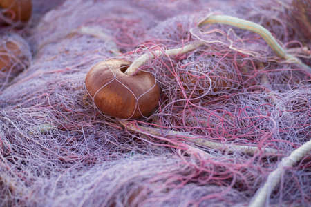 Detail of fishing nets piled up