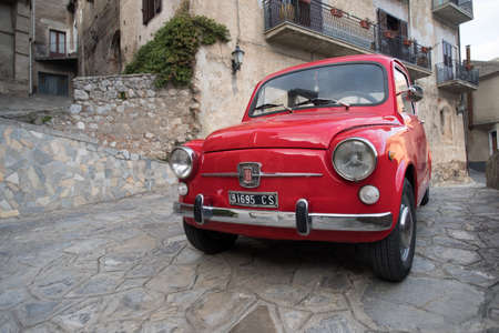 Civita, Calabria region, Italy - March 31, 2017: Close up of FIAT 500 parked in a street in Civita, Calabria region, Southern Italy