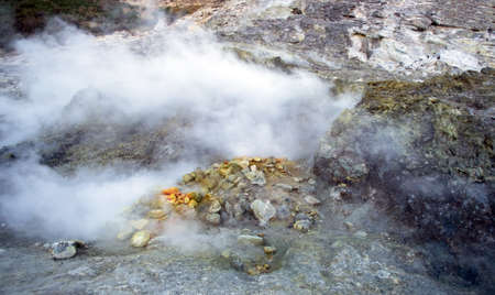 Solfatara volcanic crater at Pozzuoli, near Naples. It is a dormant volcano, which still emits jets of steam with sulfurous fumes