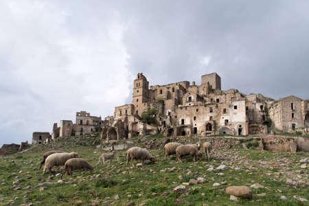 uninhabited: Craco ghost town, Province of Matera,  Southern Italian region of Basilicata Stock Photo