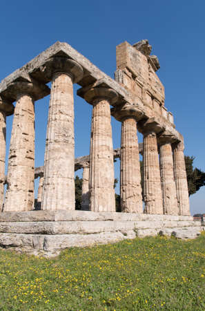 Temple of AthenaÃ,archaeological site at Paestum, Campania region, Italy Stock Photo