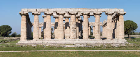 First Temple of Hera at Paestum archaeological site, Campania region, Italy