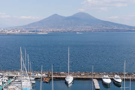 The Marina area with Mount Vesuvius in the background in Naples Stock Photo