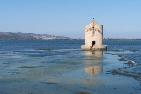 Spanish windmill in the lagoon of Orbetello, Province of Grosseto,Tuscany, Italy