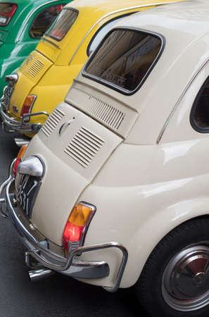 of yesteryear: Imperia, Italy - April 23, 2017: FIAT 500 parked in a street in Imperia during raid of vintage cars Editorial