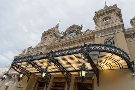 characteristic: Monaco, Monte-Carlo - September 15, 2017: Front view of the famous Grand Casino in Monte Carlo Editorial