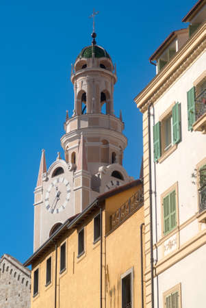 Bell tower of San Siro church. San Remo, Italy