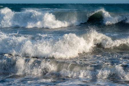 Mediterranean sea. Scenic view of waves splashing Stock Photo