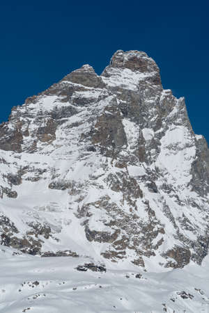 The south face of the Matterhorn-Cervino seen from Breuil-Cervinia, Italy
