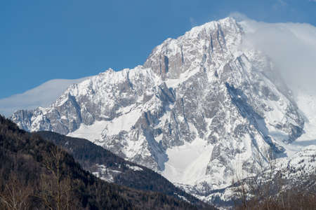 The southern slope of Mont Blanc seen from Valdigne (upper Aosta Valley, Italy) Stock Photo