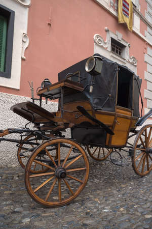 An antique horse-drawn carriage