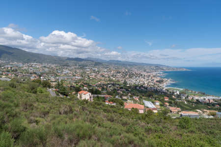 Italy, Sanremo hillside neighborhood, high angle view