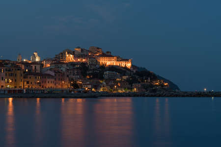 Imperia old town by night. Liguria region of Italy