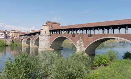 Ponte Coperto bridge (covered bridge) and Ticino river, Pavia, Lombardy region, Italy